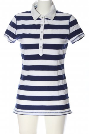 Tommy Hilfiger Polo-Shirt blau-weiß Streifenmuster Casual-Look