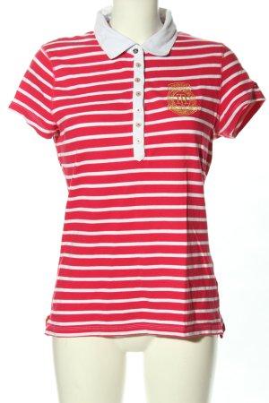 Tommy Hilfiger Polo-Shirt rot-weiß Schriftzug gestickt Casual-Look