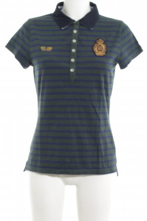 Tommy Hilfiger Polo shirt khaki-blauw gestreept patroon casual uitstraling