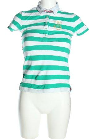 Tommy Hilfiger Polo-Shirt grün-weiß Streifenmuster Casual-Look