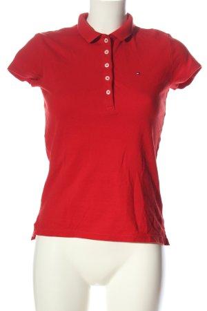 Tommy Hilfiger Polo-Shirt rot Schriftzug gestickt Casual-Look