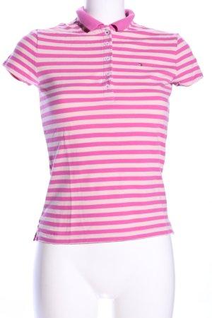 Tommy Hilfiger Polo rosa-bianco motivo a righe stile casual