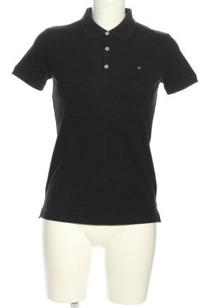 Tommy Hilfiger Polo-Shirt schwarz-weiß Schriftzug gestickt Casual-Look
