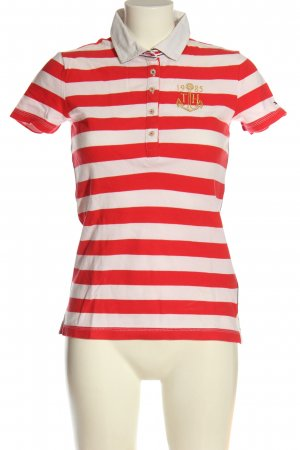 Tommy Hilfiger Polo-Shirt weiß-rot Streifenmuster Casual-Look