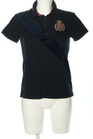 Tommy Hilfiger Polo-Shirt schwarz Schriftzug gestickt Casual-Look