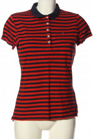 Tommy Hilfiger Polo-Shirt schwarz-rot Streifenmuster Casual-Look