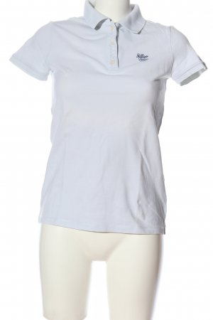 Tommy Hilfiger Polo-Shirt weiß-blau Schriftzug gestickt Casual-Look