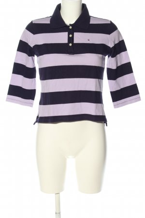 Tommy Hilfiger Polo-Shirt schwarz-lila Streifenmuster Casual-Look