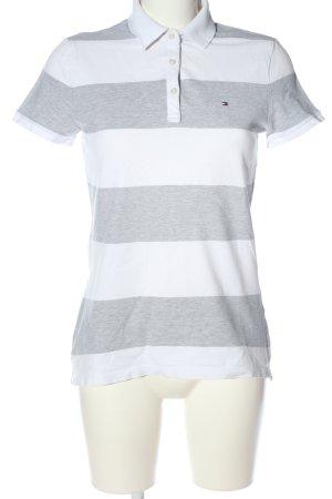 Tommy Hilfiger Polo gris clair-blanc motif rayé style décontracté