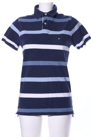 Tommy Hilfiger Polo-Shirt blau-weiß Allover-Druck sportlicher Stil