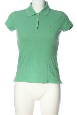 Tommy Hilfiger Polo-Shirt grün Schriftzug gestickt Casual-Look