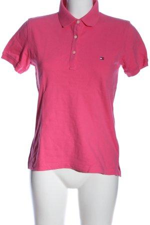 Tommy Hilfiger Polo-Shirt pink Schriftzug gestickt Casual-Look