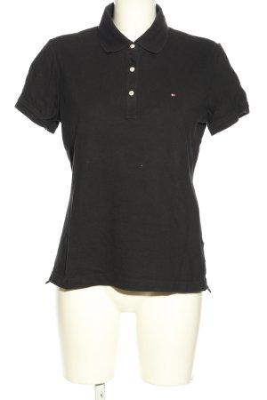 Tommy Hilfiger Polo-Shirt schwarz Schriftzug gedruckt Casual-Look
