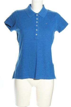 Tommy Hilfiger Polo-Shirt blau Schriftzug gestickt Casual-Look