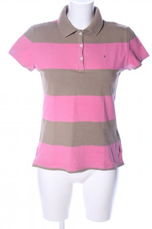 Tommy Hilfiger Polo-Shirt braun-pink Streifenmuster Casual-Look