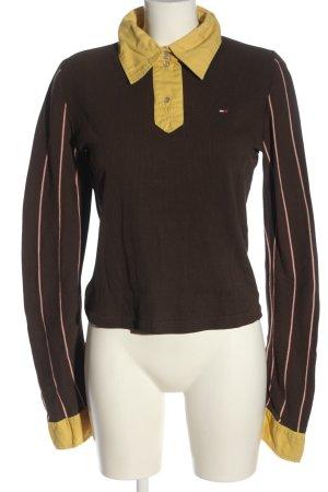 Tommy Hilfiger Polo-Shirt braun-blassgelb Streifenmuster Casual-Look