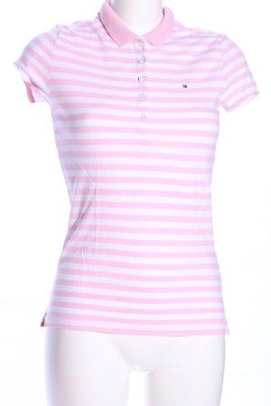 Tommy Hilfiger Polo rosa-bianco caratteri stampati stile casual