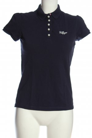 Tommy Hilfiger Polo-Shirt blau-weiß Schriftzug gedruckt Elegant