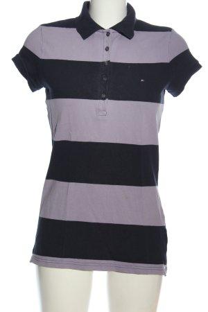 Tommy Hilfiger Polo-Shirt lila-schwarz Streifenmuster Casual-Look