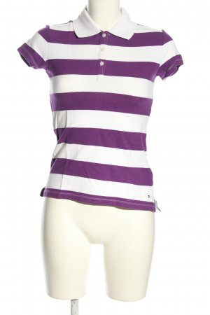 Tommy Hilfiger Polo-Shirt lila-weiß Streifenmuster Casual-Look