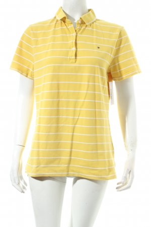 Tommy Hilfiger Polo-Shirt gelb-weiß Streifenmuster Casual-Look