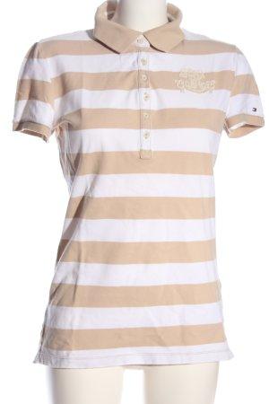 Tommy Hilfiger Polo-Shirt nude-weiß Schriftzug gedruckt Casual-Look