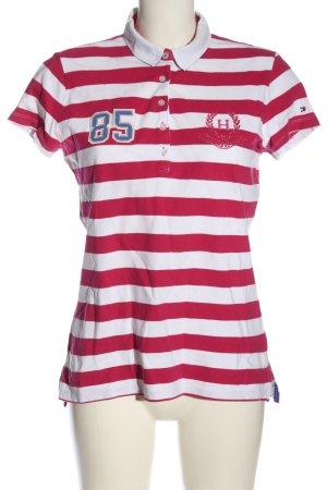 Tommy Hilfiger Polo-Shirt pink-weiß Schriftzug gestickt Casual-Look