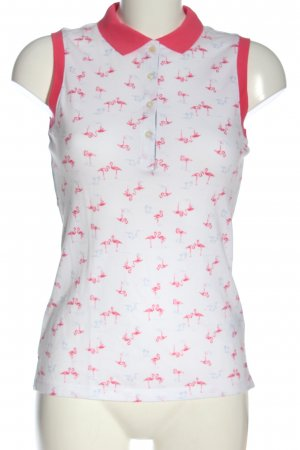 Tommy Hilfiger Top Polo bianco-rosso stampa integrale stile casual