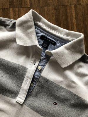 Tommy Hilfiger Poloshirt - tailliert, weiß-grau gestreift