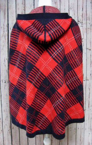 Tommy Hilfiger Poncho rojo oscuro-azul oscuro tejido mezclado