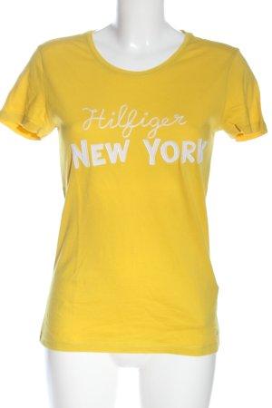 Tommy Hilfiger Print-Shirt blassgelb-weiß Schriftzug gedruckt Casual-Look