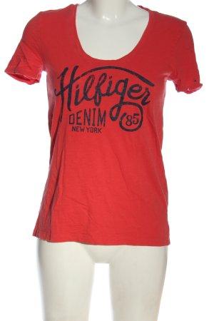 Tommy Hilfiger Print-Shirt rot-blau Schriftzug gedruckt Casual-Look