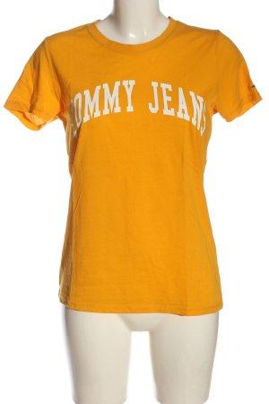 Tommy Hilfiger Print-Shirt hellorange Schriftzug gedruckt Casual-Look