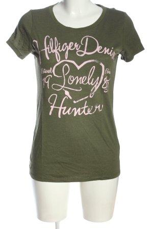 Tommy Hilfiger Print-Shirt khaki-weiß Schriftzug gedruckt Casual-Look