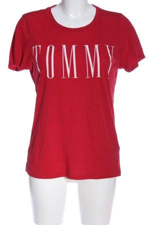 Tommy Hilfiger Print-Shirt rot-weiß Schriftzug gedruckt Casual-Look