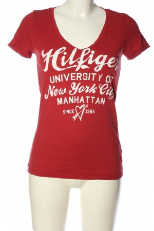 Tommy Hilfiger Shirt met print rood-wit gedrukte letters casual uitstraling