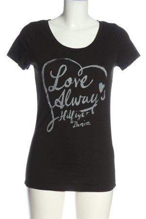 Tommy Hilfiger Print-Shirt schwarz Schriftzug gedruckt Casual-Look