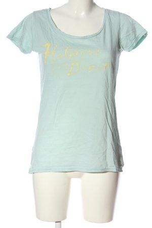 Tommy Hilfiger Print-Shirt blau-blassgelb Schriftzug gedruckt Casual-Look