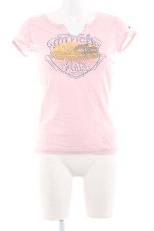Tommy Hilfiger Print-Shirt rosé Schriftzug gedruckt Casual-Look