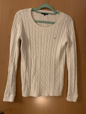 Tommy Hilfiger Warkoczowy sweter w kolorze białej wełny