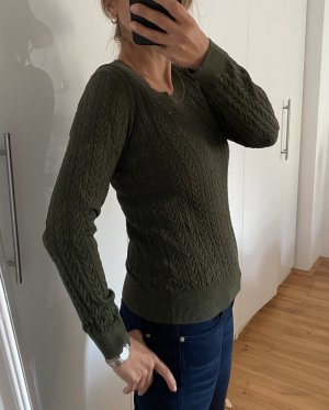 Tommy Hilfiger Kraagloze sweater khaki