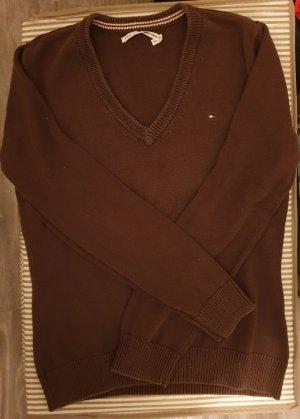 Tommy Hilfiger Jersey con cuello de pico marrón