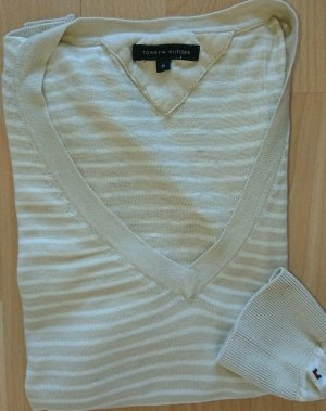 Tommy Hilfiger V-Neck Shirt white-oatmeal cotton