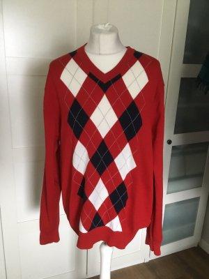 Tommy Hilfiger Pullover klassisch rot mit weiß Rauten collegestil L