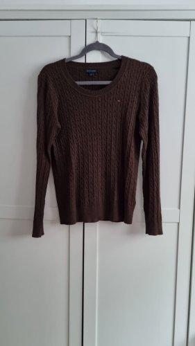 Tommy Hilfiger Warkoczowy sweter ciemnobrązowy-brązowy