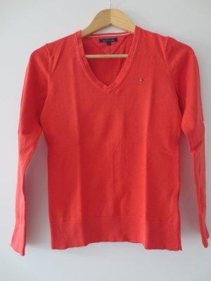 Tommy Hilfiger Pullover, orange-rot, Gr. 36/S, V-Ausschnitt, langarm
