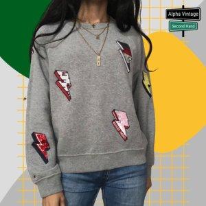 Tommy Hilfiger  Pullover Pailetten Sweatshirt grauer Pulli  152 - 12Y