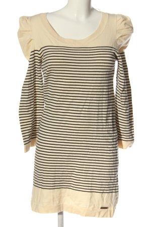 Tommy Hilfiger Swetrowa sukienka kremowy-czarny Wzór w paski W stylu casual