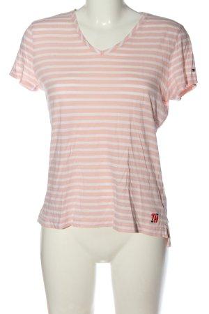 Tommy Hilfiger Koszulka w paski nude-biały Wzór w paski W stylu casual