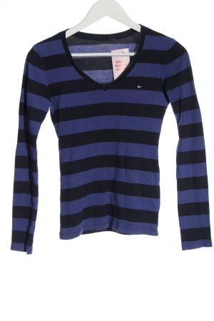 Tommy Hilfiger Ringelshirt blau-schwarz Schriftzug gestickt Casual-Look